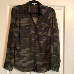 Express Tops - Camo Portofino Shirt by Express